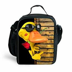 fun animals yellow duck print lunch bags