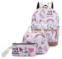 Gimay Girls School Backpack Unicorn Teens Bookbag Set Kids L