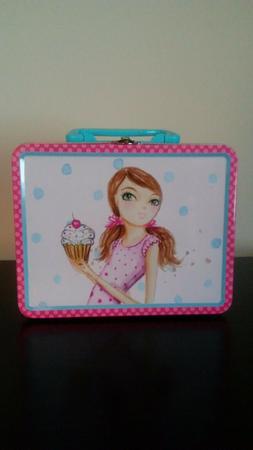 Girls Tin Lunch Box School Pink Kids Food/Snack Storage Cont