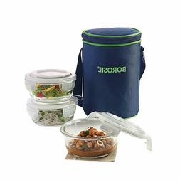 Borosil Glass Lunch Box Set of 3, 400 ml, Microwave Safe Off