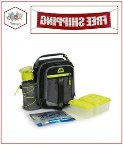 high performance dual compartment lunch box black