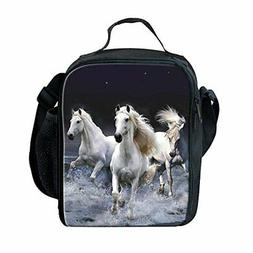 Showudesigns Horse Print Lunch Box Kids Boys Girls Picnic Fo