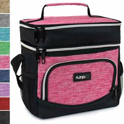 OPUX Insulated Dual Compartment Lunch Bag, Double Deck Lunch