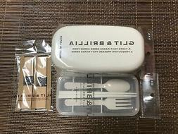 Japanese Bento Lunch Box & Belt 2 tier & Utensil Set White