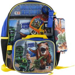 Lego Jurassic World Dinosaur School Backpack Book /& Lunch Box Bag 4 Pc Set
