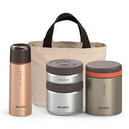 KA Rafale Gold Metal Thermal Bento Lunch Box Bottle Set Insu