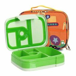Kids Bento Lunch Box Set in Green w/Trucks Design Lunch Bag,