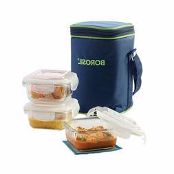 Kitchen Borosil Glass Lunch Box Set of 3, 320 ml,Microwave S