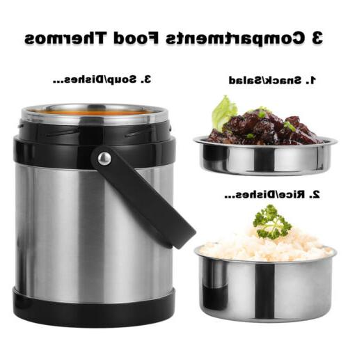 2.2L Vacuum Insulated Lunch Box 3 Tier Jar Hot Thermos Food