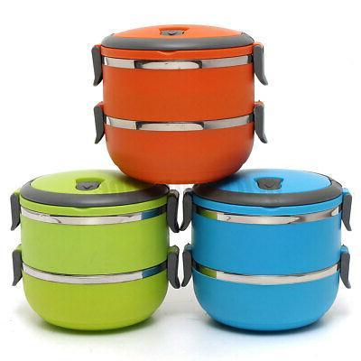 2-Layer Thermal Insulated Steel Round Food Container Bento Box