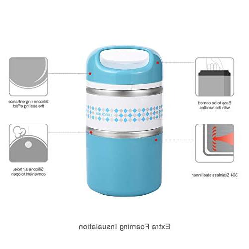 2 Layers Stainless Lunch Insulated Lunch Box Hot Containers for oz,
