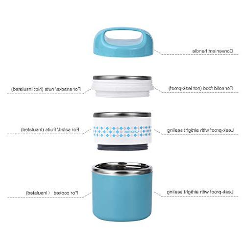 2 Layers Lunch Insulated Lunch Stay Hot Leak-proof Containers Adults, Work, School - oz,