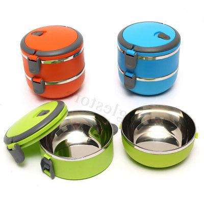 2 Steel Thermal Lunch Bento Container