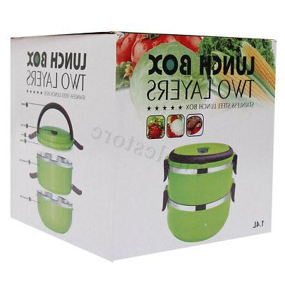 2 Layers Stainless Thermal Insulated Lunch Box Bento Picnic