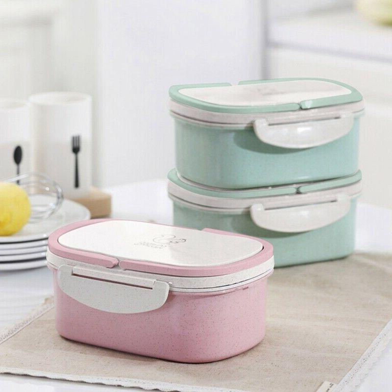 2 Wheat Microwave Bento Lunch Box Handle US