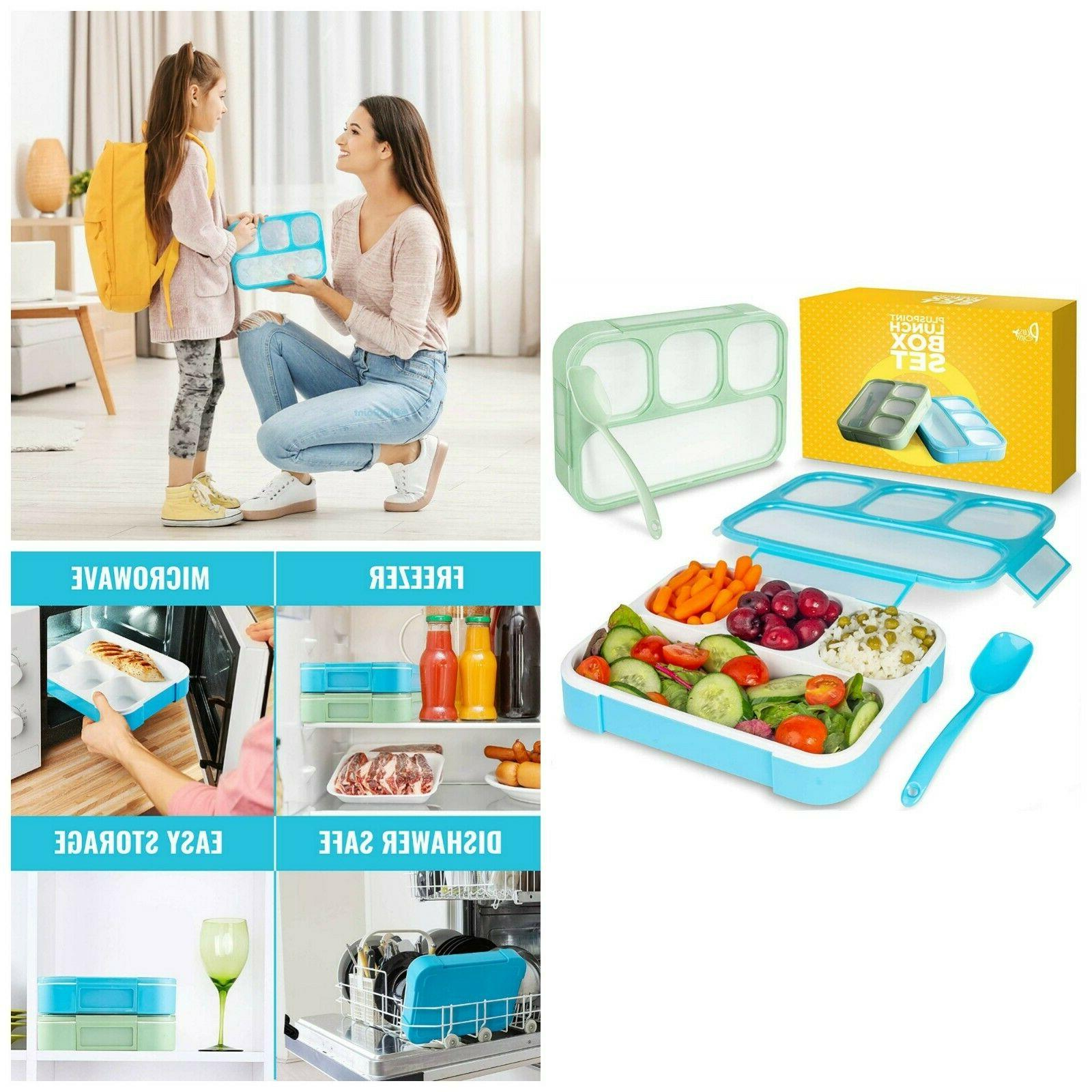 4 Compartments Bento Lunch Box Meal Prep Storage With Cutler