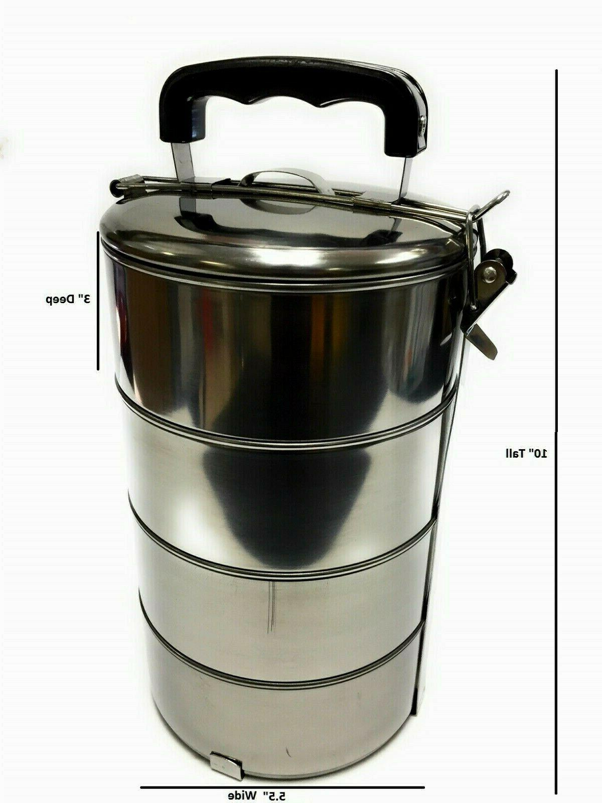 4 Layers Stainless Steel Hot Food Container Lunch Box Carrie