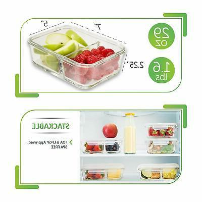 Prep Food Containers 2 Compartment Box