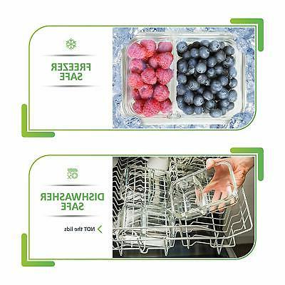 5 Pcs Glass Prep Food 2 Divided Box