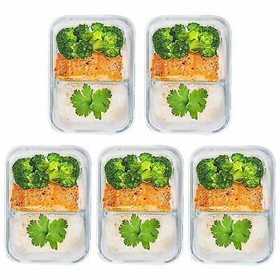 5 Pcs Glass Meal Prep 2 Divided Box