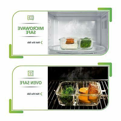 5 Pcs Glass Prep Food Containers 2 Compartment Box