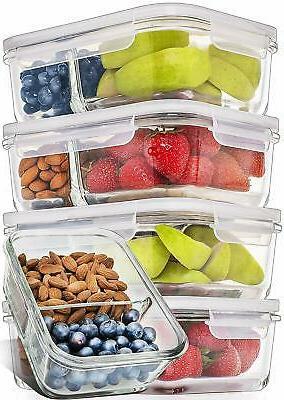 5 pcs glass meal prep food storage