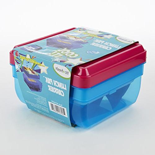 Fit Fresh Divided Lunch Pack Carrier, Food and Snack with Ice Pack, BPA-Free Lunch Box,