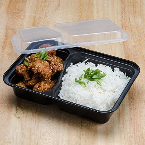 Green Lunch Box Sets / Food Container with Lid / 2 Compartment Bento Microwaveable, & Dishwasher Safe, Leak Proof, 10 Pack