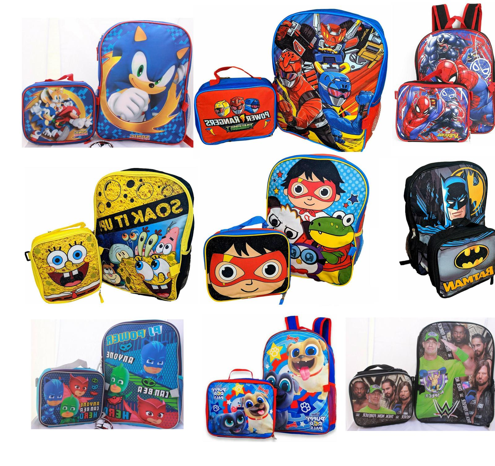 Little Boys School Large Backpack Lunch box Set Cartoon Book