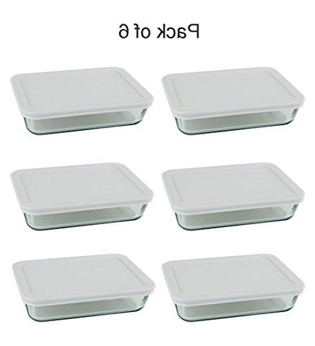 Pyrex 3-cup Rectangle Glass Food Containers With White Plastic For Lunch Storage ,And