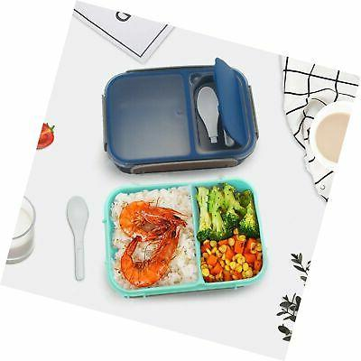 Bento Box for & Adults 2 Lunch Box Containers Spoon Lea...