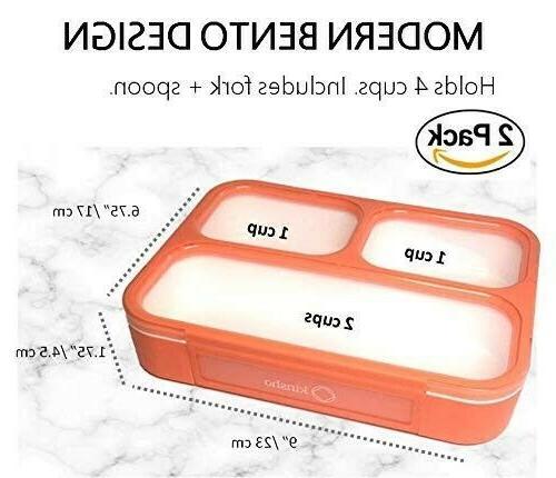 BPA-Free ORANGE Portable Lunch Dishwasher Safe - 2PC