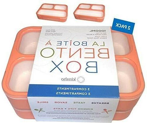 bpa free orange portable bento lunch box