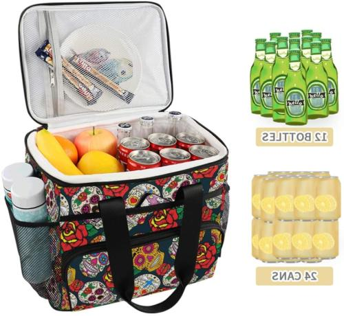 ALAZA Colorful Sugar and Roses Large Lunch Bag Lunch Soft