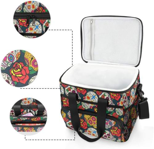 ALAZA Colorful Sugar and Large Lunch Bag Insulated Lunch Soft