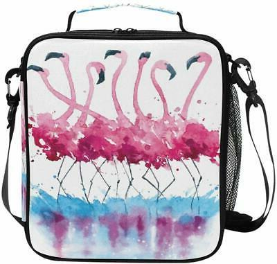 cooler lunch box pink flamingos watercolor painting