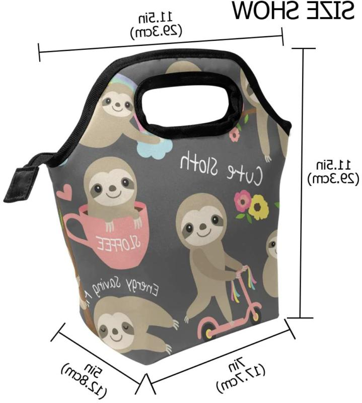 Cute Sloth For Kids Girls Insulated Lunch Bag Cooler Meal