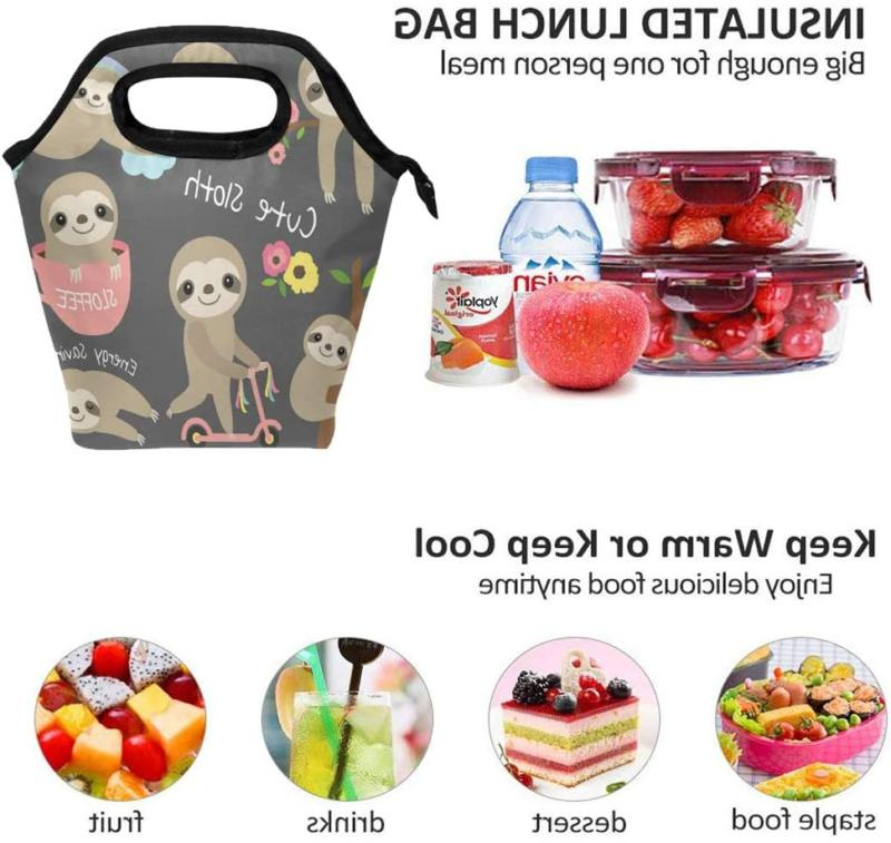 Cute Sloth For Kids Lunch Zipper Meal Tote