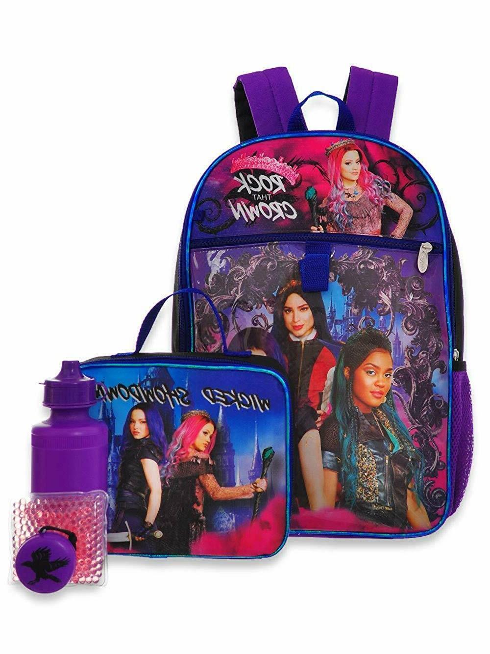 Disney Descendants Girl School Backpack Lunch Box Book Bag 5 Piece Set Toy Gift