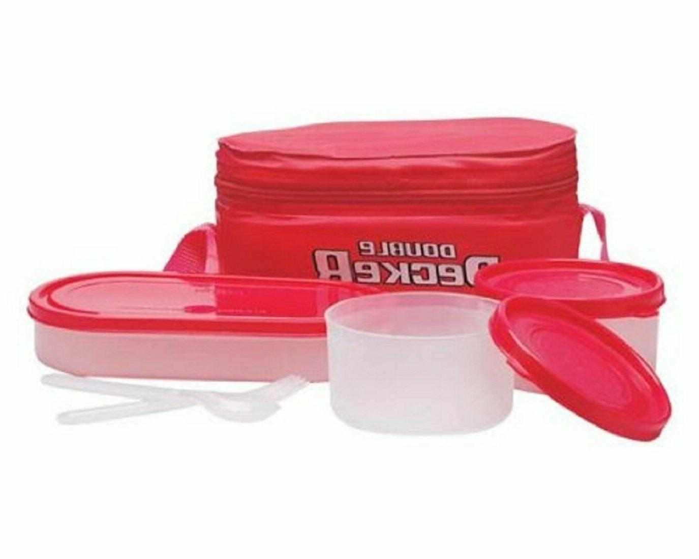 Milton Double Decker Lunch Box 3 Container & High Quality Ba