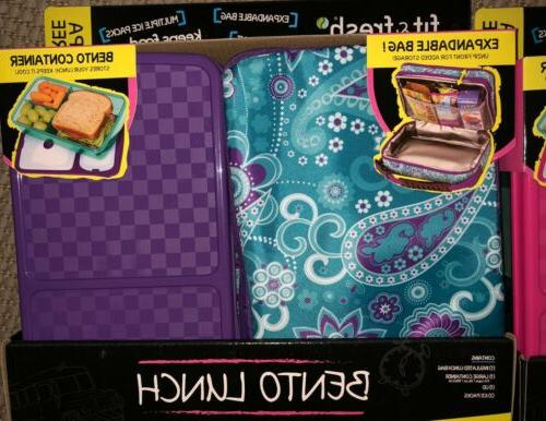 Fit & Fresh Bento Insulated Lunch Bag Ice Packs Avail.