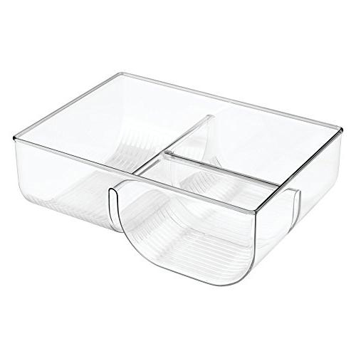 mDesign Storage Container Lid 3-Compartment Plastic Organizer Bin for Organization in Cabinets, Cupboards, Pantry Shelves Pack