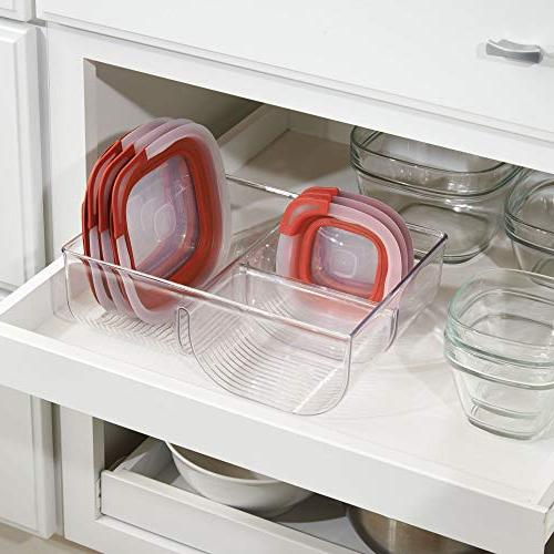 mDesign Container Lid Holder, Plastic Organizer Bin for in Cabinets, Pantry - Pack -