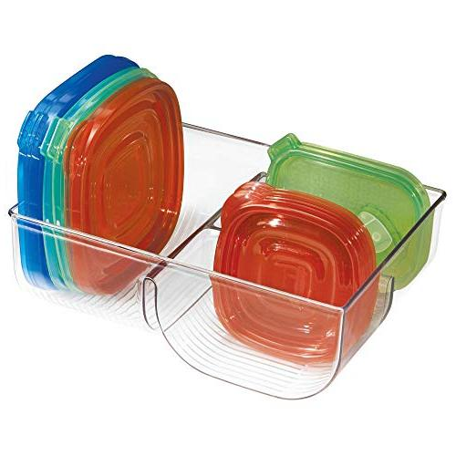 mDesign Food Lid Holder, 3-Compartment Organizer Bin for in Kitchen Pantry Pack Clear