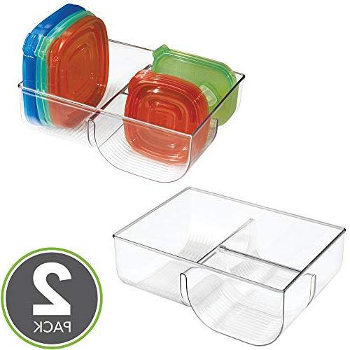 mDesign Storage Lid Holder, Organizer Bin in Kitchen Cabinets, Pantry Pack - Clear