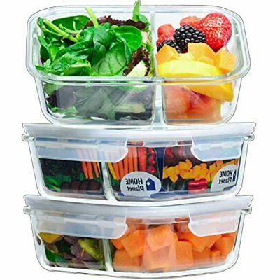 glass meal prep containers 2 compartment lunchbox