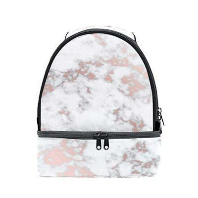 ALAZA Hipster Marble Rose Gold Portable Shoulder Double Lunc