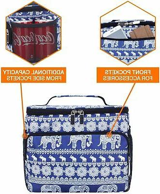 Insulated Bag Picnic Beach Hiking Lunch Shoulder Strap Vivid Elephant