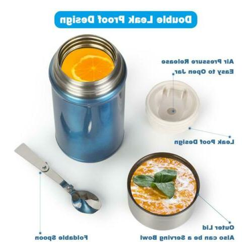 Insulated Food Thermos 1000ml Hot Soup Container Stainless V