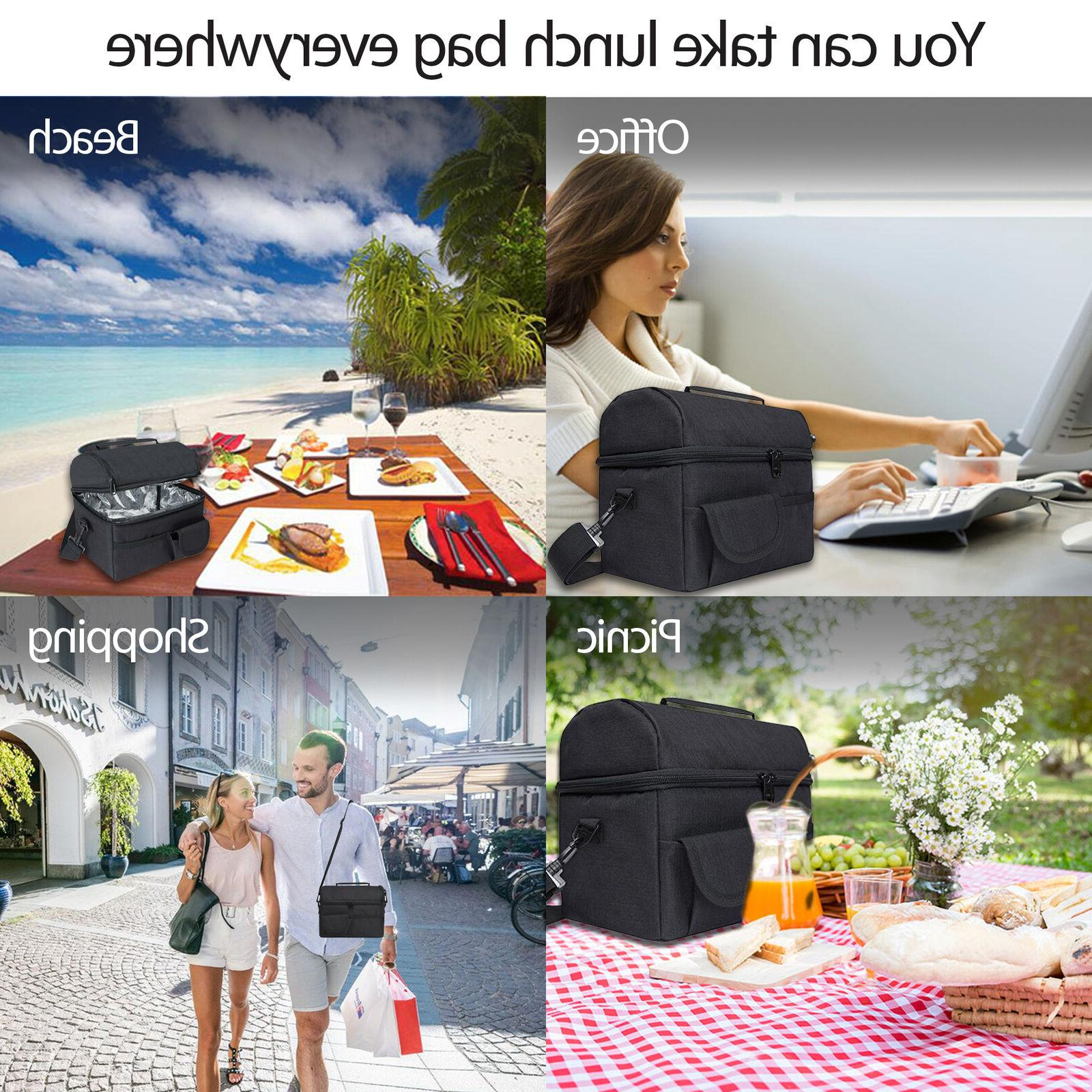 Insulated Lunch Tote Box for Women Men Hot Cold Adult